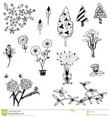 tree and flower sketch outline vector set on white background