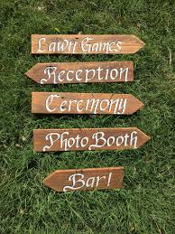 custom directional signs brown stained personalized garden