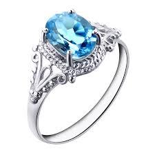 gem silver rings images Natural topaz stone ring blue topaz square gem female ring finger jpg
