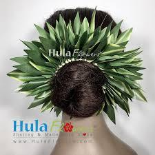 flower hair bun silk ti leaves hair bun hulaflowers