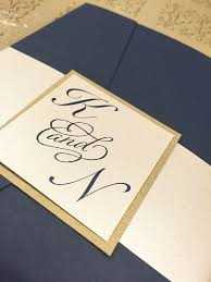 pocket fold navy blue gold pocket fold wedding invitation pj greetings