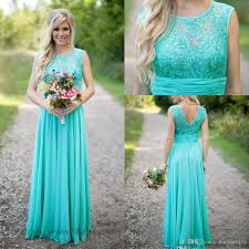 2017 cheap country turquoise mint bridesmaid dresses illusion neck