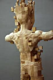 wood sculptor hsu tung han s newest pixelated wood sculpture