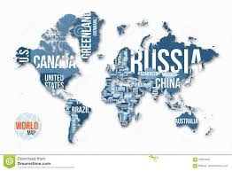 Free Vector World Map by Vector Detailed World Map With Borders And Country Names Stock