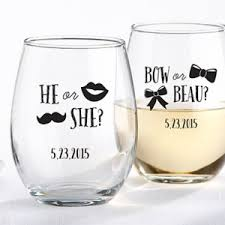 personalized favors personalized gender reveal party stemless wine glass favors
