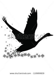 painted swan taking fly patterned sky stock illustration 118989829