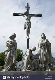 low angle view of jesus christ on the cross ile d orleans quebec