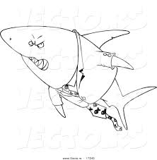 vector of a cartoon business shark in a suit coloring page