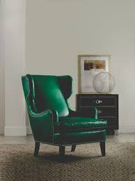 this emerald green leather chair is by hooker furniture in their
