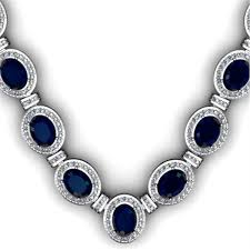silver necklace with sapphire images 43 60 ctw sapphire diamond necklace 925 sterling silver jpg