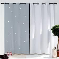 chambre fille etoile rideau gris étoiles blanches pour chambre d enfant