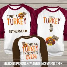 thanksgiving pregnancy announcement turkey in oven two