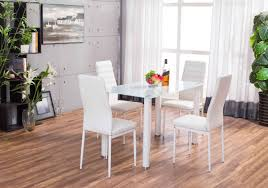 white lunar rectangle glass dining table u0026 4 chairs set furniturebox