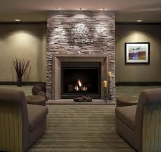 decorating stone fireplace surround ideas plus recessed lighting