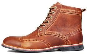 amazon com kunsto men u0027s leather classic brogue boots lace up