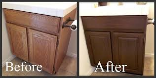 how to stain your cabinets darker progress on the floor bathroom staining oak cabinets