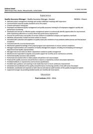 Manager Resume Sample by Quality Assurance Manager Resume Sample Velvet Jobs
