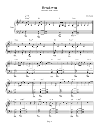 breakeven the script piano plateau sheet music