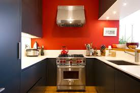 Red Laminate Flooring Red And Brown Kitchen Decor Built In Oven And Microwaves Shine