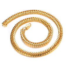2015 men s jewelry 8mm 60cm new arrival hot men s classic 18k yellow gold plated cuban link chain