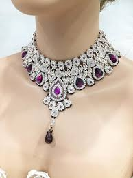 wedding jewelry wedding jewelry set bridal necklace earrings purple