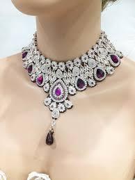 bridal jewelry wedding jewelry set bridal necklace earrings purple