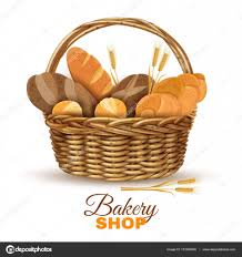 bakery basket bakery basket with bread realistic image stock vector