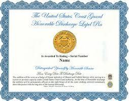 honorable discharge certificate the unites states coast guard honorable discharge lapel pin display