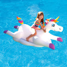 Unicorn Cloud by Blue Wave Cloud Rider Rainbow Unicorn Inflatable Ride On Pool