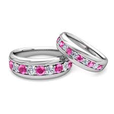 black and pink wedding ring sets his and hers wedding band platinum pink sapphire wedding rings