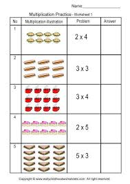 multiplication with pictures illustrations worksheet 1