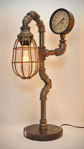 iron pipe lamp with wood base by blinklab on etsy copper