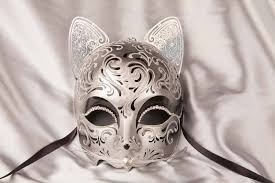 venetian cat mask gatto fu silver luxury cat mask with swarovski crystals