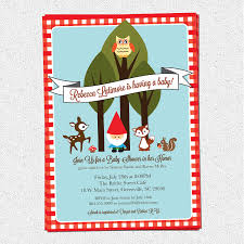 baby shower invitations woodland animals creatures gnome forest