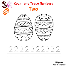 count and trace number 2 easter worksheet math pinterest