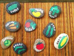 set of 10 hand painted natural beach rock vegetable garden markers