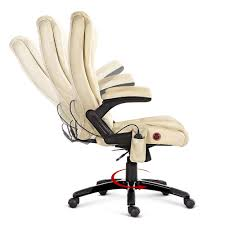 oz crazy mall 8 point massage executive pu leather office chair beige