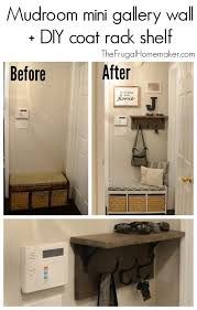 mudroom gallery wall diy coat rack shelf
