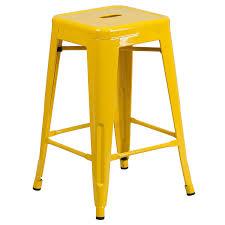 Amazoncom Flash Furniture  High Backless Yellow Metal Indoor - Yellow patio furniture