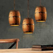 country wooden barrel pendant lights lamp creative loft e26