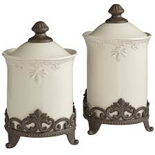 abigail stoneware canisters u0026 stands scroll pattern kitchen
