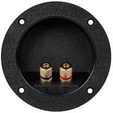 gold banana 5 way binding post round recessed speaker terminal cup