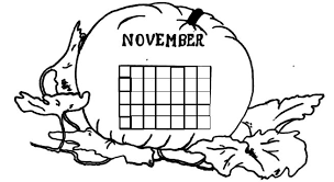 november coloring calendar coloring pages kids