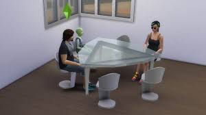 mod the sims futuristic triangular table for six sims and chair