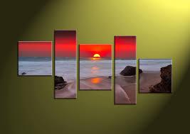 5 piece red sunset white ocean canvas art