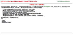 Product Certification Letter Sle Chocolate Maker Work Experience Certificate