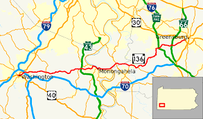 Map Of Western Pennsylvania by Pennsylvania Route 136 Wikipedia