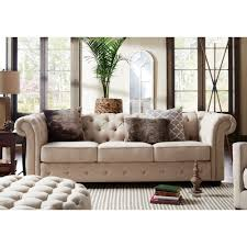 Chesterfield Sofa Set Knightsbridge Beige Fabric Button Tufted Chesterfield Sofa And