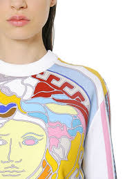 versace logo printed cotton jersey sweatshirt white women clothing