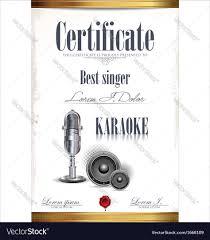 Prize Certificate Template Karaoke Certificate Template Best Singer Vector Image